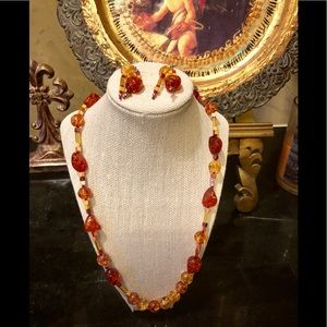 Fall colors Necklace and earring set